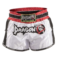 Retro White Muaythai Shorts dragon do, muay thai shorts, muaythai shorts,  compression gear, compression pants, sports bras, vale tudos, compression shirts, rash guards, t-shirts, gym clothes, gym, training, weight lifting, yoga pants, capris, training clothes, spats